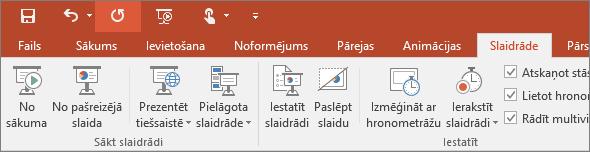 Tiek rādīta cilne Slaidrāde PowerPoint lentē
