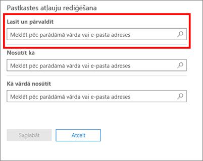 Ekrānuzņēmums: pievienojiet lietotājus, kuri drīkst lasīt un pārvaldīt šī lietotāja pastkasti