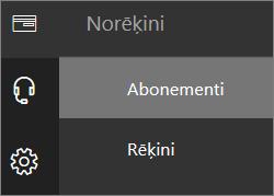 Izvēlnes Norēķini ekrānuzņēmums jaunajā Office365 administrēšanas centrā, ar atlasītu opciju Abonementi.