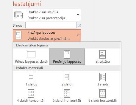 piezīmju drukāšanas opciju ekrānuzņēmums