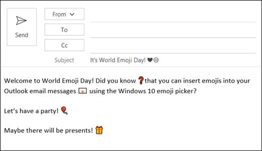 Varat ievietot vienu vai vairākus Emojis savā e-pasta ziņojumā.
