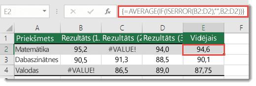 Masīva funkcija funkcijā AVERAGE #VALUE! kļūdas izlabošanai
