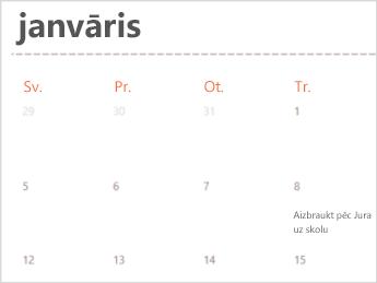 Kalendāra veidne programmā Excel Online
