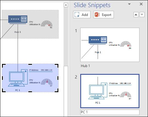 Ekrānuzņēmums, kurā redzama slaidu izgriezumu rūts programmā Visio ar parādītiem diviem slaida priekšskatījumiem.