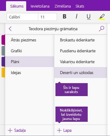 Ekrānuzņēmums, kur programmā OneNote redzama poga Pievienot lapu.