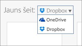 Attēls, kurā redzams, ka pakalpojums Dropbox pievienots vietām, kur varat veidot jaunus failus pakalpojumā Office Online