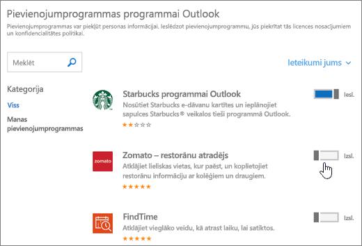 Ekrānuzņēmums, kurā Outlook lapu, kurā varat skatīt pievienojumprogrammas instalētajām pievienojumprogrammām un meklējiet un atlasiet papildu pievienojumprogrammas.