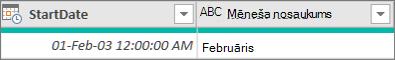 Kolonnas pievienošana, lai iegūtu datuma mēneša nosaukumu