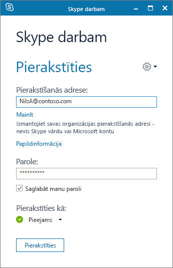 Ekrānuzņēmums ar Skype darbam pierakstīšanās ekrānu.