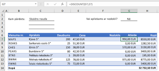 Example order form with a custom function