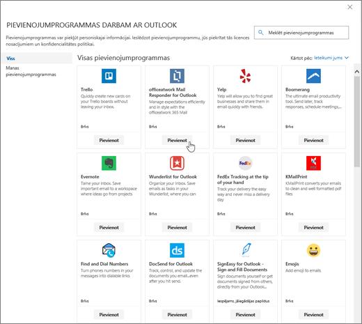 Ekrānuzņēmumā redzama pievienojumprogrammu darbam ar Outlook lapa.