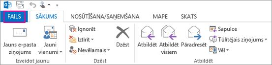 Šādi izskatās Outlook darbvirsmas lente.