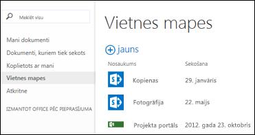 Lai skatītu sarakstu ar SharePoint Online vietnēm, kurām sekojat, ātro darbību joslā pakalpojumā Office 365 atlasiet Vietņu mapes.
