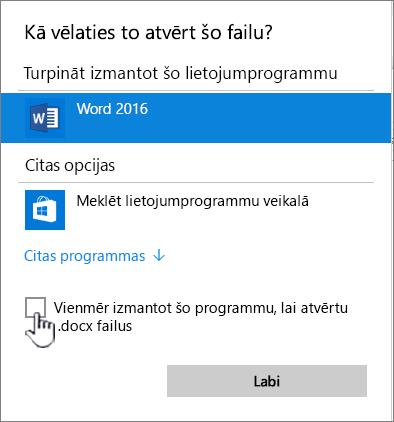 Operētājsistēmas Windows dialoglodziņš Atvērt ar