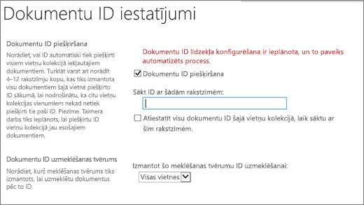Dokumentu ID piešķiršana dokumenta ID iestatījumu lapā