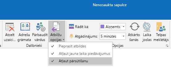 Opcija Atļaut pārsūtīšanu programmā Outlook