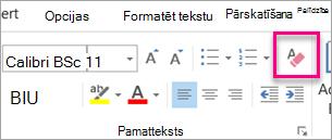 Cilnes ziņojums ir iezīmēta Notīrīt visu formatējumu ikona