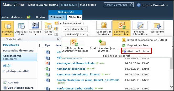 SharePoint 2010 mape Koplietojamie dokumenti, opcija Atvērt ar Explorer