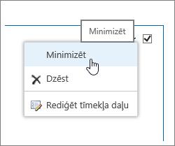 Tīmekļa daļas izvēlne ar iezīmētu minimizēt