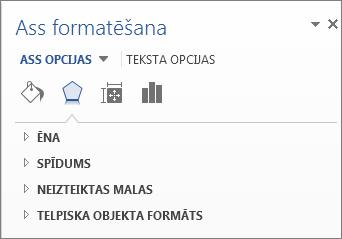 Asu formatēšanas opciju saraksts kā diagrammas elementu rediģēšanas piemērs