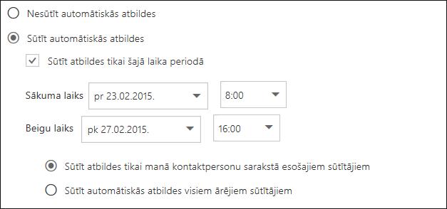 Outlook tīmeklī automātiskās atbildes iestatītais laiks