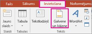 Tiek parādīta izvēlne Ievietošana un poga Galvene programmā PowerPoint
