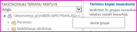 Navigācijas rūts ekrānuzņēmums terminu krātuves pārvaldības rīkā, kurā parādīts atlasīts izvēlnes vienums Jauna grupa