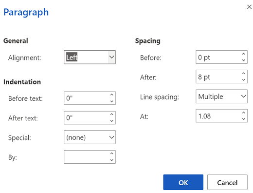 Paragraph options dialog box in Word for the web.