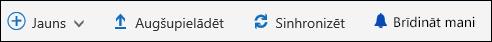 Office 365 dokumentu bibliotēkas galvenā izvēlne