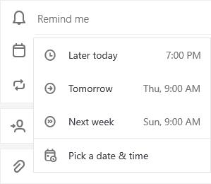 Uzdevumu detalizētas informācijas skats ir atvērts ar atlasītām opcijām, lai atlasītu vēlāk šodien, rīt, nākamnedēļ vai izvēlēties datumu & laiku