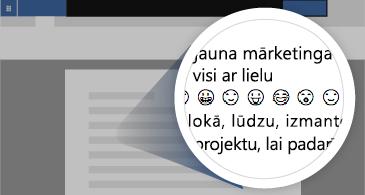 Dokuments ar pietuvinātu apgabalu, kurā parādītas pieejamās Emoji emocijzīmes