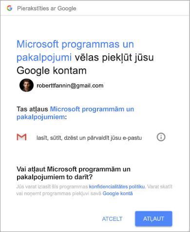 Parāda atļauju logu programmai Outlook, lai piekļūtu Gmail kontam