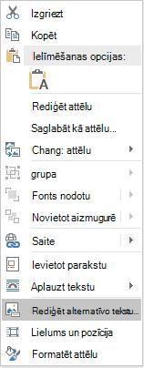 Word Win32 Alt teksta rediģēšanas izvēlne attēli