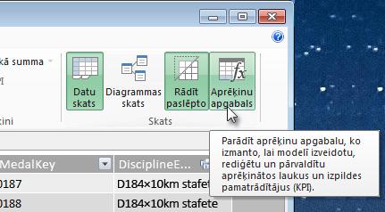 Aprēķinu apgabals pievienojumprogrammā PowerPivot