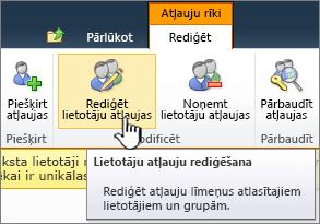 Rediģēt lietotāja atļaujas