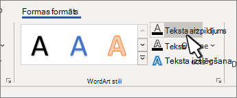 WordArt styles Text Fill button highlighted