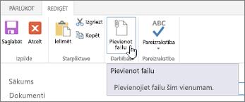 Rediģēt cilne lentē ar iezīmētu pievienot failu.