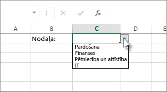 Nolaižamā saraksta programmā Excel paraugs