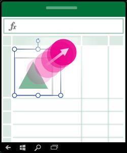 Attēls, kurā parādīts, kā mainīt formas, diagrammas vai citu objekta lielumu