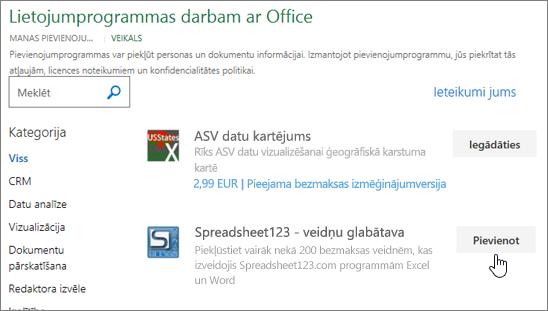 Attēlā redzams Office pievienojumprogrammas lapu, kurā var atlasīt vai meklēt pievienojumprogrammas programmai Excel.