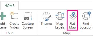 Poga Plakana karte pievienojumprogrammas Power Map cilnē Sākums