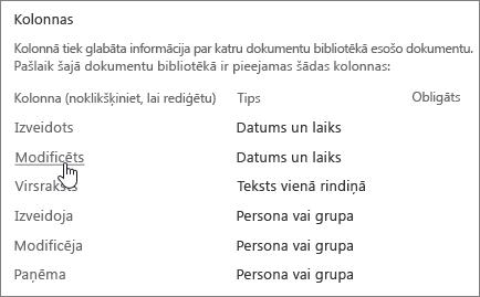 Atlasiet kolonnu sadaļa tiek atlasīts bibliotēkas iestatījumi rāda kolonnas.