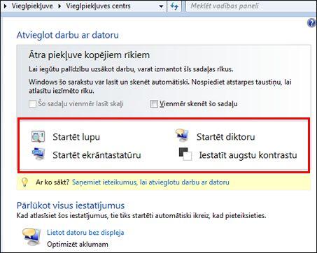 Windows vieglpiekļuves centra dialoglodziņš, kur var izvēlēties palīgtehnoloģijas