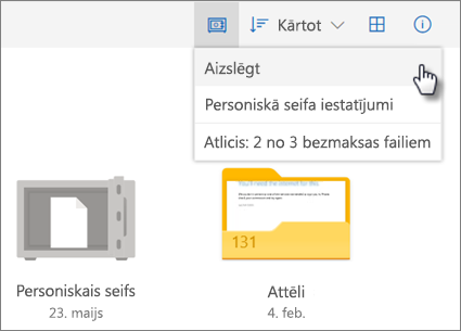 Ekrānuzņēmums, kurā attēlota OneDrive mapes Personiskais seifs bloķēšana