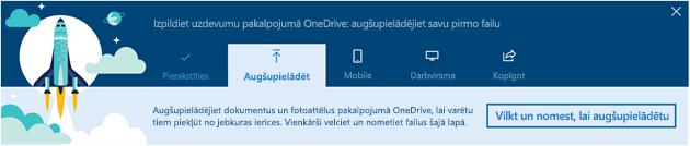 Ekrānuzņēmums ar OneDrive vadītais ceļvedi, kas tiek parādīts, kad pirmo reizi izmantojat, OneDrive for Business pakalpojumam Office 365