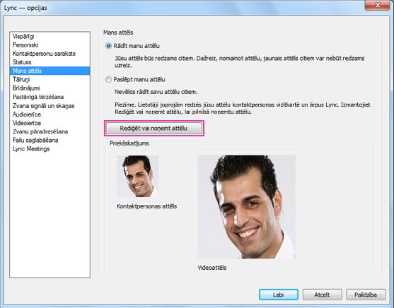 Loga Mana attēla opcijas ekrānuzņēmums ar iezīmētu opciju Rediģēt vai Mainīt attēlu