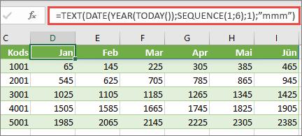 Excel worsksheet ar funkciju SEQUENCE