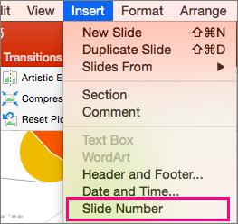 Tiek rādīta izvēlne ievietošana programmā PowerPoint 2016 for Mac