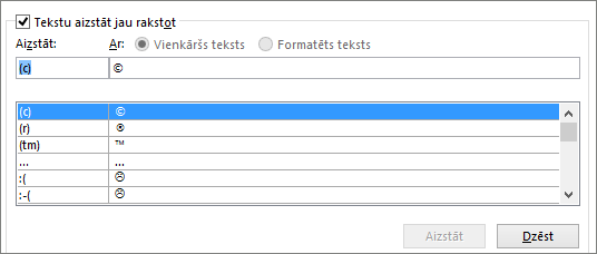 Automātiskās koriģēšanas saraksts