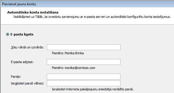 Outlook2010 Pievienot vārdu un e-pasta adresi